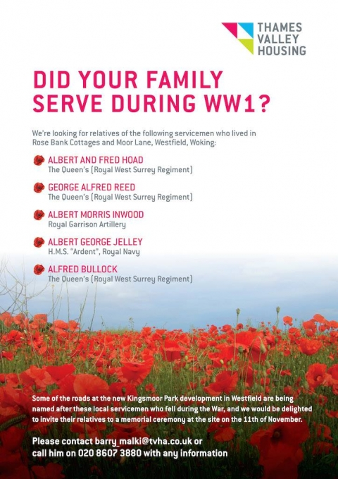 Roads in Kingsmoor Park to be named after local WW1 servicemen