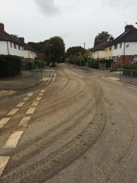 Quartermaine Road left in a slippy muddy state
